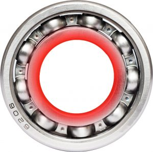 image of a hot bearing with a red inner raceway