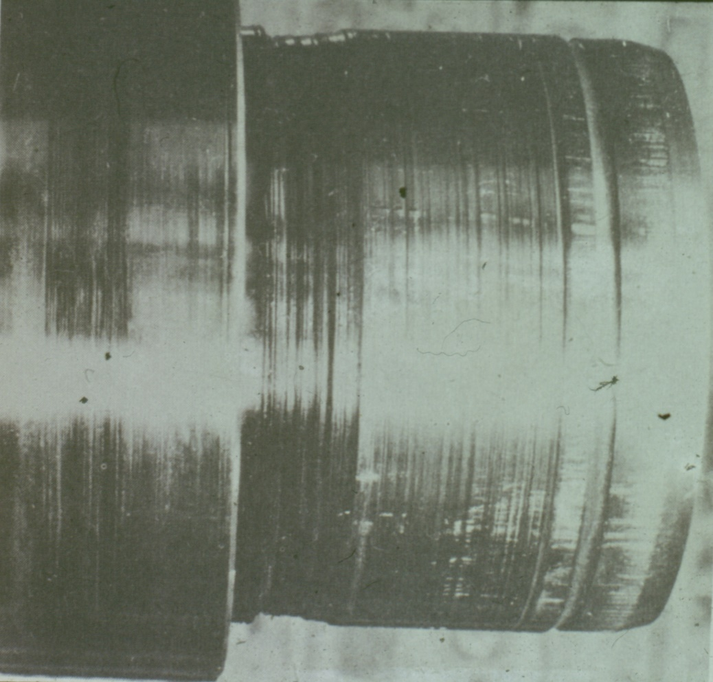 Image showing the damage to a plain bearing from sever catastrophic machining of the journal - sometimes called wire wool damage